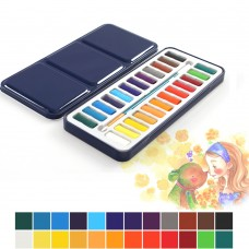 Watercolor Paint Set, 24 Assorted Colors Upgrade Paints with Brush for Artist Drawing Painting