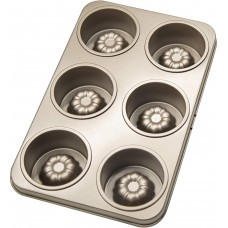 Cupcake Pan, Double-sided Nonstick Cannele Mold for Baking, 6-Cavity