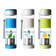 Edible Grade Plastic Outdoor Sports Water Bottle Lemon Cup Tea Cups, Tea Separated, colorful