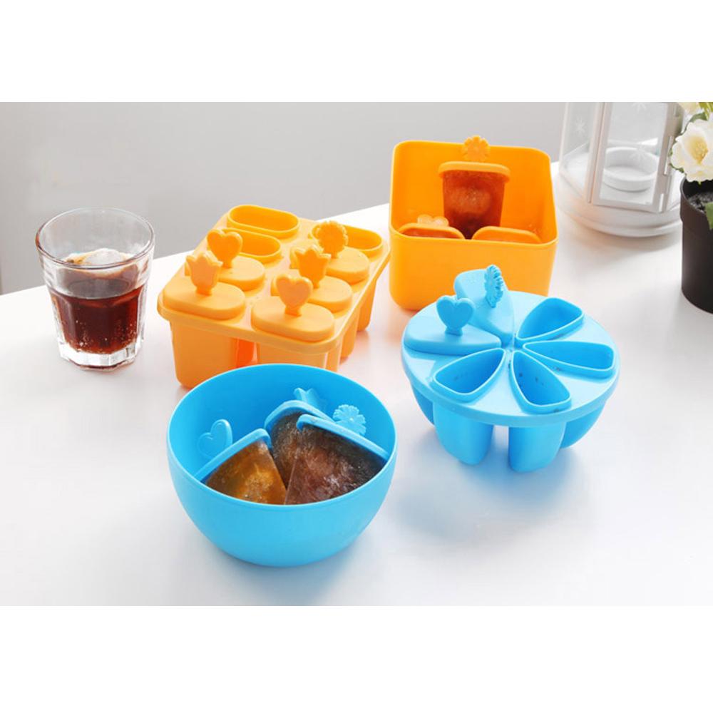 El uso repetido de paleta moldes de hielo Pop Moldes (conjunto de 8, naranja)