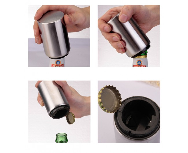 magnetic bottle opener stainless steel automatic push down beer bottle opener. Black Bedroom Furniture Sets. Home Design Ideas