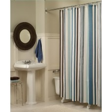 Vertical Stripes Polyester Shower Curtain, 72 by 72 inch, Blue