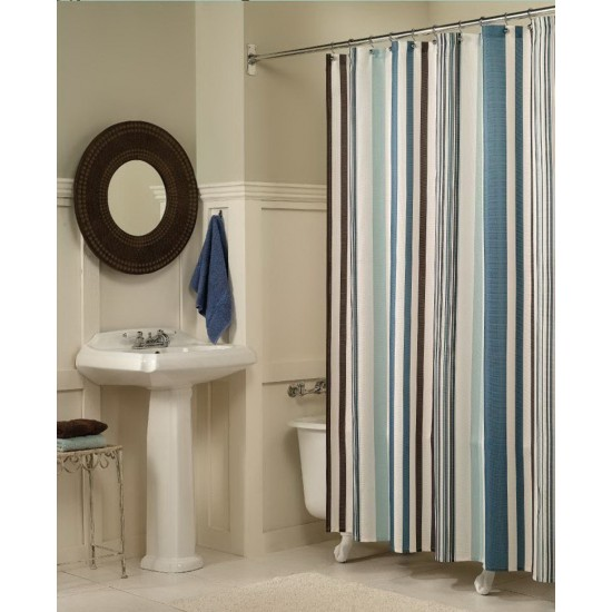 Vertical Stripes Polyester Shower Curtain 72 By Inch Blue