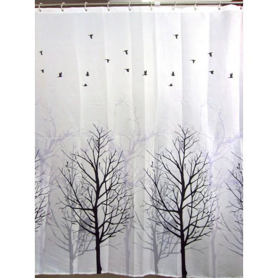 trees little bird shower curtain