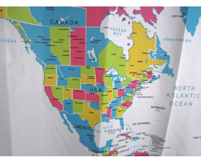 World MAP Shower Curtain Bathroom Curtain Waterproof Polyester – Map World Shower Curtain